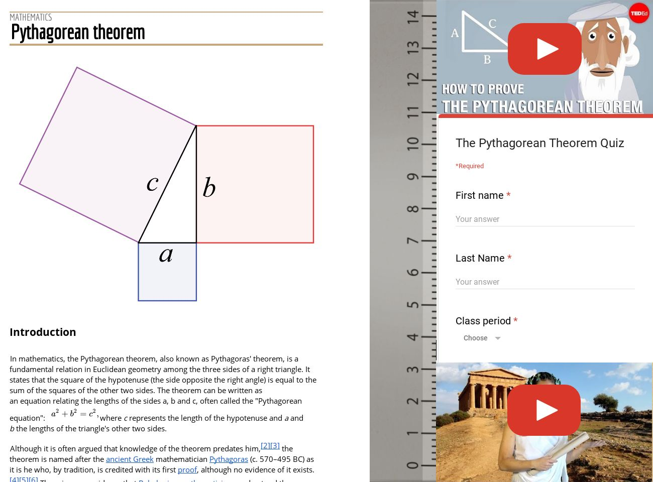 Pythagorean theorem + quiz