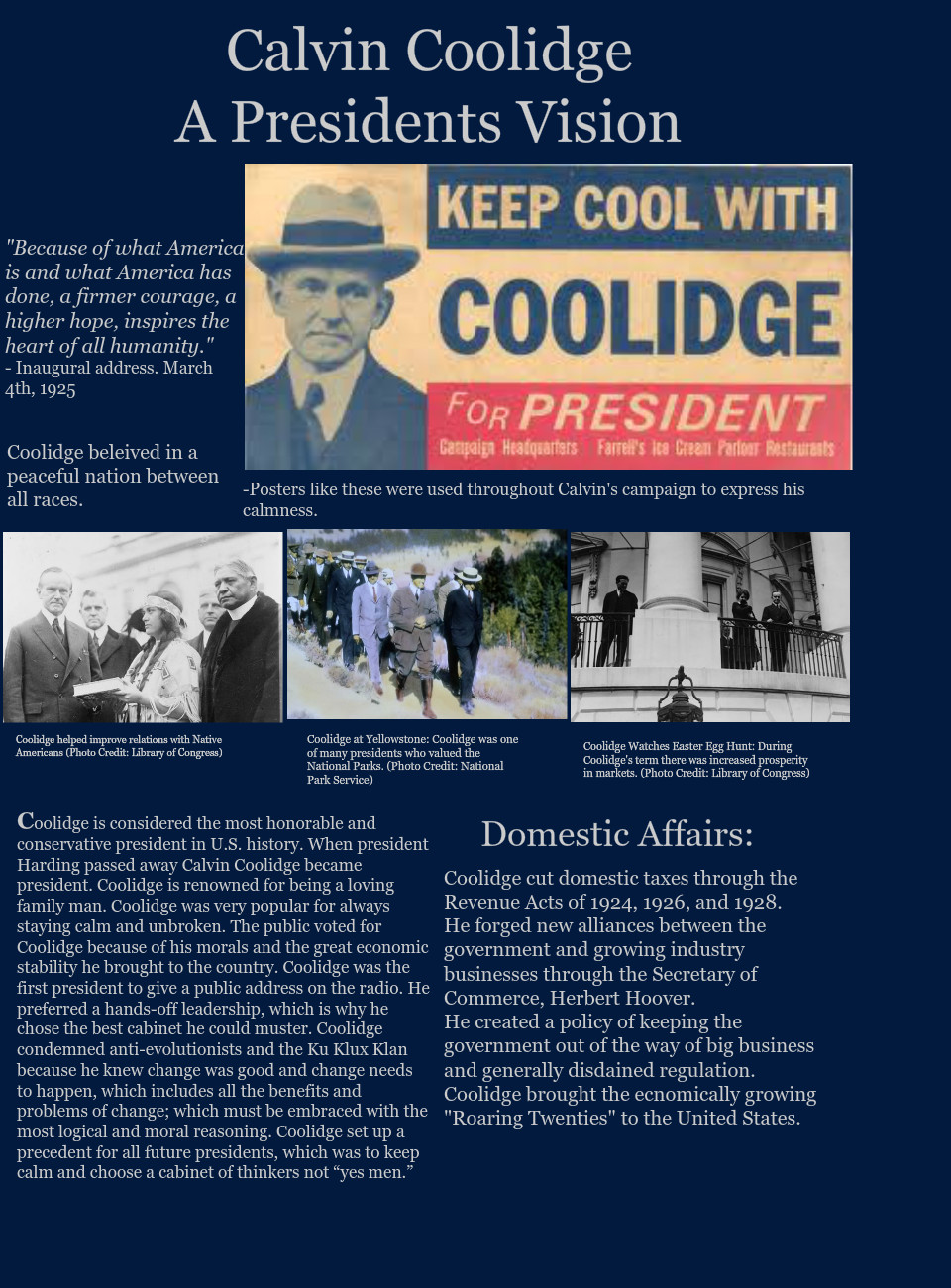 Calvin Coolidge, A Presidents Vision