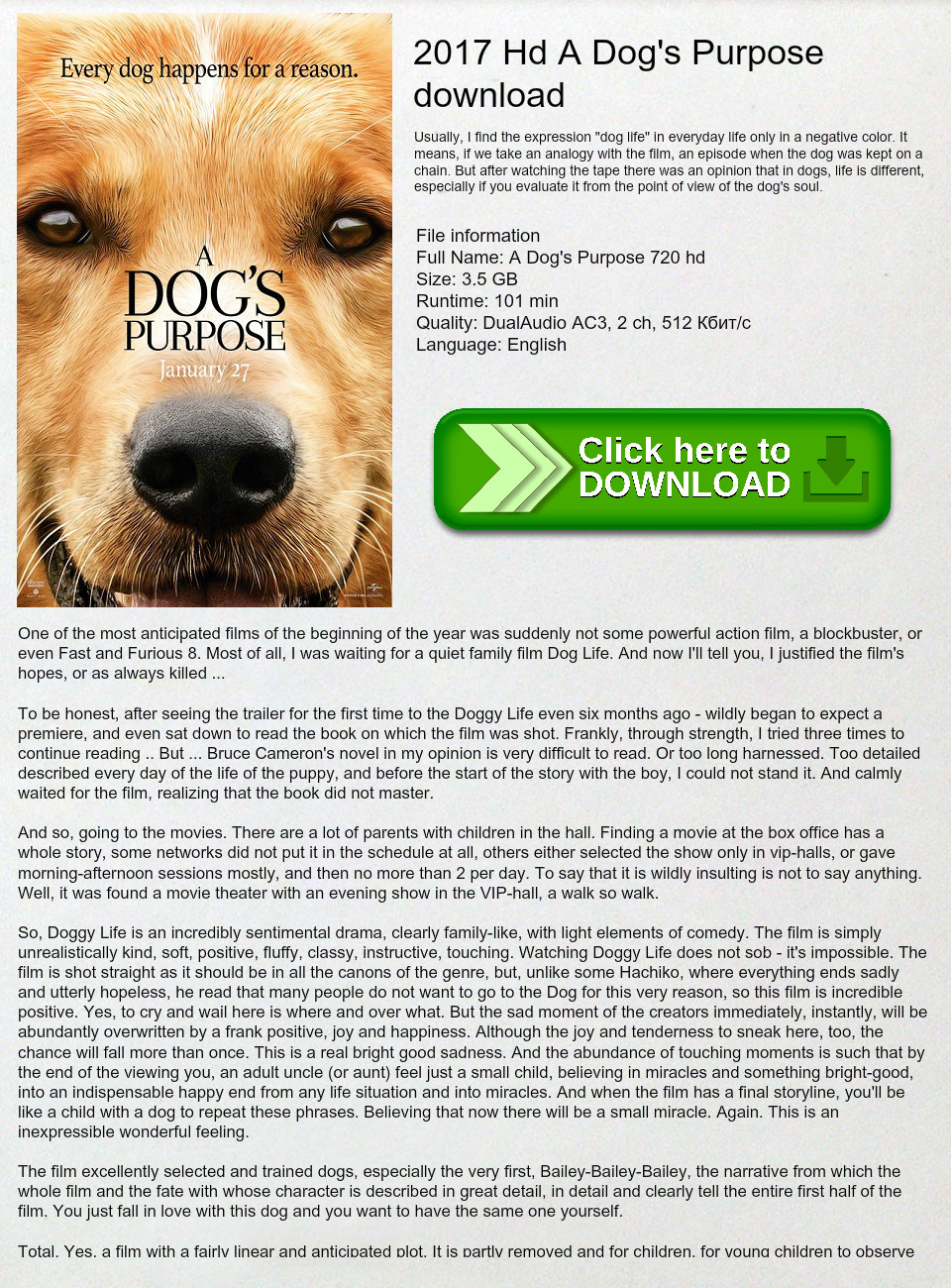 2017 Hd A Dog's Purpose download