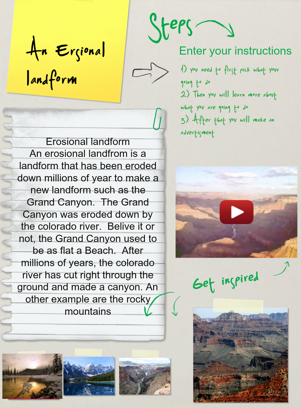 Erosional landform,(Assignment),Earth Science thumbnail